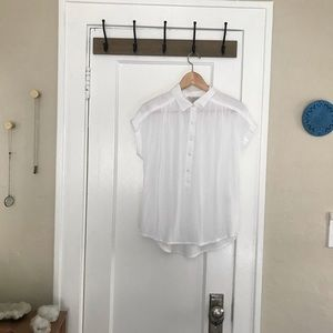 Lucky Brand White Button Down Top Blouse Shirt XS